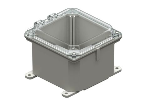 Allied Moulded Products - AMP Series – Polyline® JIC Size Junction Boxes: Hinged Screw Cover - Clear Polycarbonate